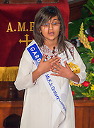 Shahnoor Ahtesham of Sutton Elementary School performs during the Martin Luther King, Jr. Oratory Competition at Antioch Missionary Baptist Church, January 17, 2014.