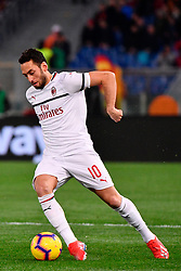 03.02.2019, Stadio Olimpico, Rom, ITA, Serie A, AS Roma vs AC Milan, 22. Runde, im Bild calhanoglu // calhanoglu during the Seria A 22th round match between AS Roma and AC Milan at the Stadio Olimpico in Rom, Italy on 2019/02/03. EXPA Pictures &copy; 2019, PhotoCredit: EXPA/ laPresse/ Alfredo Falcone<br /> <br /> *****ATTENTION - for AUT, SUI, CRO, SLO only*****