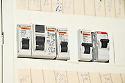 Domestic fuse box close up