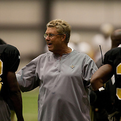 08 August 2009: Defensive coordinator Gregg Williams talks to Danny Gorrer (38) and Jabari Greer (32) during the New Orleans Saints annual training camp Black and Gold scrimmage held at the team's indoor practice facility in Metairie, Louisiana.