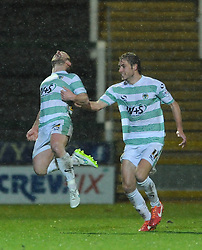Yeovil Town's Simon Gillett celebrates his goal with Yeovil Town's Sam Foley - Photo mandatory by-line: Dougie Allward/JMP - Mobile: 07966 386802 - 16/12/2014 - SPORT - football - Yeovil - Huish Park - Yeovil Town v Accrington Stanley - FA Cup