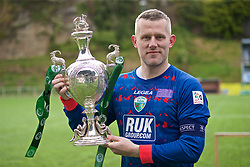 RHOSYMEDRE, WALES - Sunday, May 5, 2019: The New Saints' captain goalkeeper Paul Harrison with the trophy after the FAW JD Welsh Cup Final between Connah's Quay Nomads and The New Saints at The Rock. TNS won 3-0. (Pic by David Rawcliffe/Propaganda)