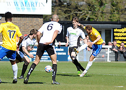 Bristol Rovers' Matty Taylor gets a shot away - Photo mandatory by-line: Neil Brookman/JMP - Mobile: 07966 386802 - 18/04/2015 - SPORT - Football - Dover - Crabble Athletic Ground - Dover Athletic v Bristol Rovers - Vanarama Football Conference