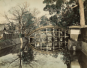 Uchida Kuichi<br /> Sorihashi Bridge at Sumiyoshi Grand Shrine, Osaka<br /> <br /> Hand colored albumen print by Uchida, printed mid to late 1870s showing the Sorihashi Bridge at Sumiyoshi Grand Shrine (Sumiyoshi Taisha) in Osaka. This Shinto shrine is one of the oldest in Japan and was founded in the third century, prior to the start of Buddhism in Japan. Albumen print, hand colored, mounted to a stiff album board that's been separated from the verso print. The mat board is trimmed to near the edge of the print. Negative date early 1870s, print date mid to late 1870s.<br /> <br /> Print:  10 1/8 in. x 8 in. (260 x 202 mm.)<br /> Mount 10 3/8 in. x 8 1/4 in. (267 mm x 209 mm.)<br /> <br /> Condition: Very good with deep rich tones and subtle hand coloring.<br /> <br /> Price: Inquire<br /> <br /> <br /> <br /> <br /> <br /> <br /> <br /> <br /> <br /> <br /> <br /> <br /> <br /> <br /> <br /> <br /> <br /> <br /> <br /> <br /> <br /> <br /> <br /> <br /> <br /> <br /> <br /> <br /> <br /> <br /> <br /> <br /> <br /> <br /> <br /> <br /> <br /> <br /> <br /> <br /> <br /> <br /> <br /> <br /> <br /> <br /> <br /> <br /> .