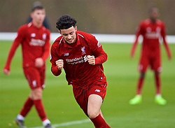 DERBY, ENGLAND - Friday, March 8, 2019: Liverpool's Curtis Jones celebrates scoring the third goal during the FA Premier League 2 Division 1 match between Derby County FC Under-23's and Liverpool FC Under-23's at the Derby County FC Training Centre. (Pic by David Rawcliffe/Propaganda)