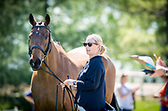 Zara Tindall-Phillips with her horse High Kingdom at the trot up for the Rolex Kentucky Three day event where the pair will be competing this weekend. COPYRIGHT ROBIN UTRECHT
