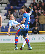 Dundee's David Clarkson and Inverness Caley Thistle's Ross Draper - Inverness v Dundee  - SPFL Premiership at the Caledonian Stadium<br /> <br />  - © David Young - www.davidyoungphoto.co.uk - email: davidyoungphoto@gmail.com