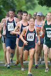 Trey Miller (185/University of Virginia).  The Lou Onesty Invitational Cross Country meet was hosted by the University of Virginia XC team and held at Panorama Farms near Charlottesville, VA on September 6, 2008.  Athletes endured rain and wind from Tropical Storm Hanna during the race.