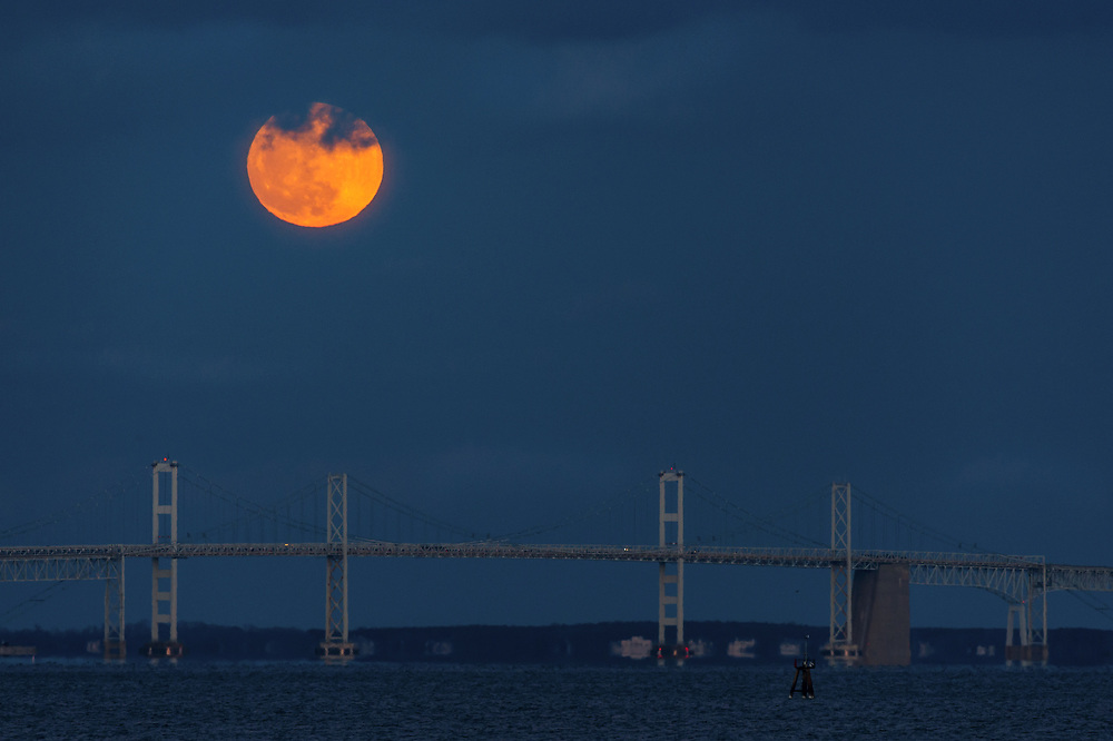 New Year's Day Supermoon Over the Chesapeake Bay Bridge Close Up