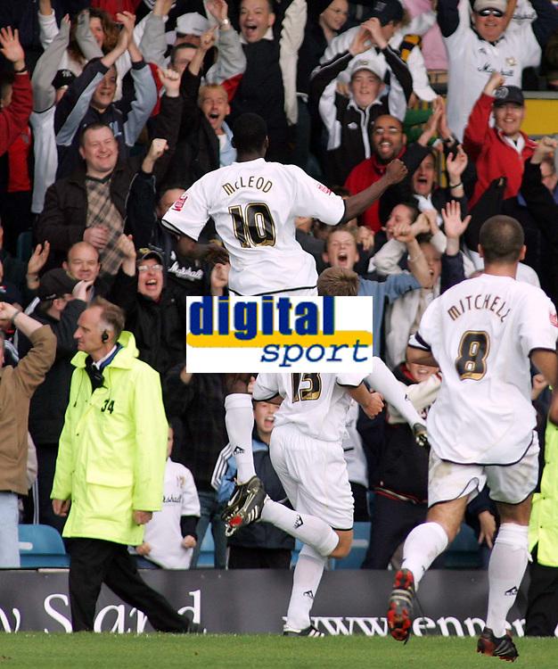 Photo: Paul Thomas.<br /> MK Dons v Swindon Town. Coca Cola League 1.<br /> 01/10/2005.<br /> <br /> Izale McLeod celebrates his goal for MK Dons.