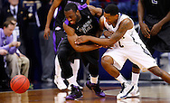SOUTH BEND, IN - DECEMBER 21: Scott Martin #14 of the Notre Dame Fighting Irish and Eric Atkins #0 of the Notre Dame Fighting Irish battle for a loose ball at Purcel Pavilion on December 21, 2012 in South Bend, Indiana. (Photo by Michael Hickey/Getty Images) *** Local Caption *** Scott Martin; Eric Atkins