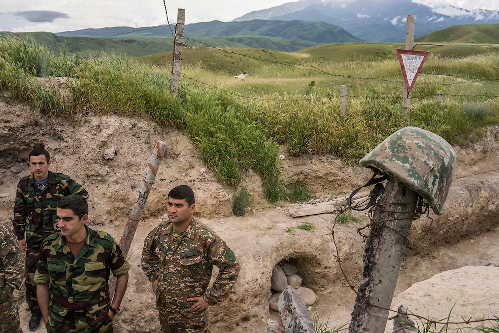 Soldiers from the Nagorno-Karabakh armed forces at a front-line post on Sunday, May 8, 2016 near Talish, Nagorno-Karabakh. It was estimated that Azerbaijani military forces were stationed approximately 100 meters away.