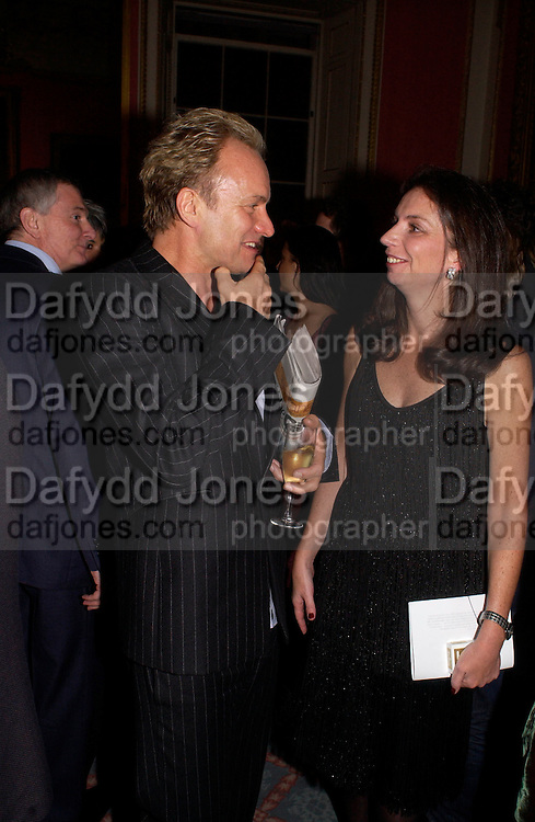 Sting and Nancy Sladek, Literary Review Bad Sex in Fiction Award. In and Out Club, St. James, Sq. 3 December 2003. © Copyright Photograph by Dafydd Jones 66 Stockwell Park Rd. London SW9 0DA Tel 020 7733 0108 www.dafjones.com