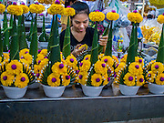 01 APRIL 2014 - BANGKOK, THAILAND: A vendor makes flower arrangements with marigolds in the Bangkok flower market. The Yodpiman Flower Market (also called Pak Khlong Talat) is being renovated and gentrified. The market opened in 1961 and has been a Bangkok landmark for more than 50 years, is being turned into a high end mall. Many of the flower and vegetable vendors in the market may be forced out.    PHOTO BY JACK KURTZ