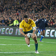 Digby Ioane races away to score a try for the Wallabies during the New Zealand V Australia Tri-Nations, Bledisloe Cup match at Eden Park, Auckland. New Zealand. 6th August 2011. Photo Tim Clayton