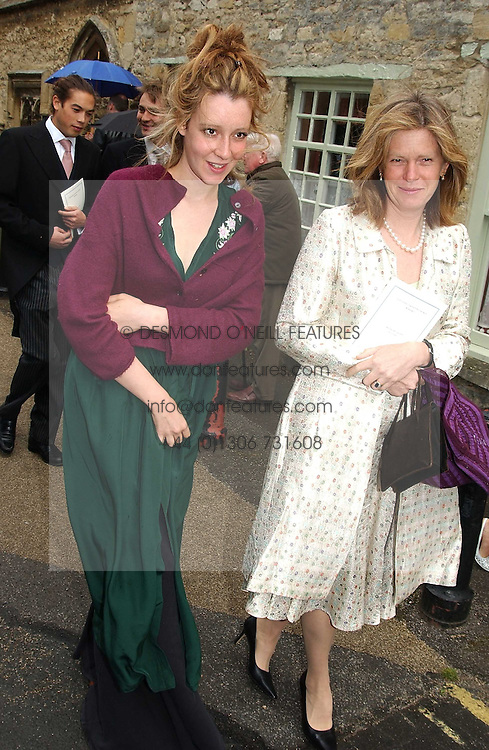 KATE GOLDSMITH and her mother ANITA ROTHSCHILD at the wedding of Hugh van Cutsem to Rose Astor in Burford, Oxfordshire on 4th June 2005.<br />
