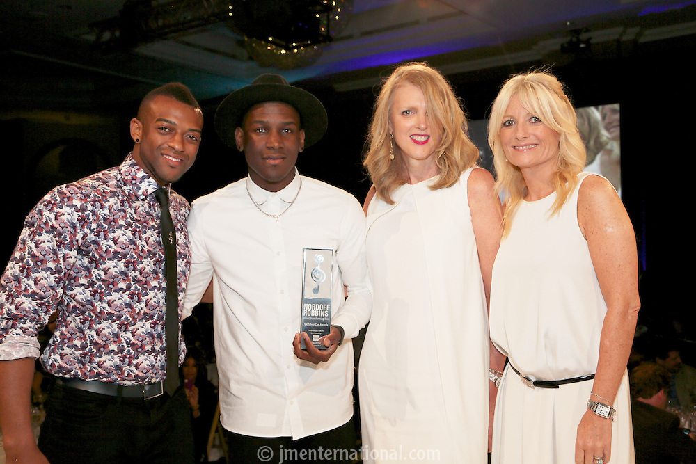 (L-R) Orits&eacute; Williams, Labyrinth, Lisa Gregg - O2, Gabby Roslin. The Silver Clef Lunch 2013 in aid of  Nordoff Robbins held at the London Hilton, Park Lane, London.<br /> Friday, June 28, 2013 (Photo/John Marshall JME)