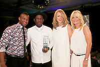 (L-R) Oritsé Williams, Labyrinth, Lisa Gregg - O2, Gabby Roslin. The Silver Clef Lunch 2013 in aid of  Nordoff Robbins held at the London Hilton, Park Lane, London.<br /> Friday, June 28, 2013 (Photo/John Marshall JME)