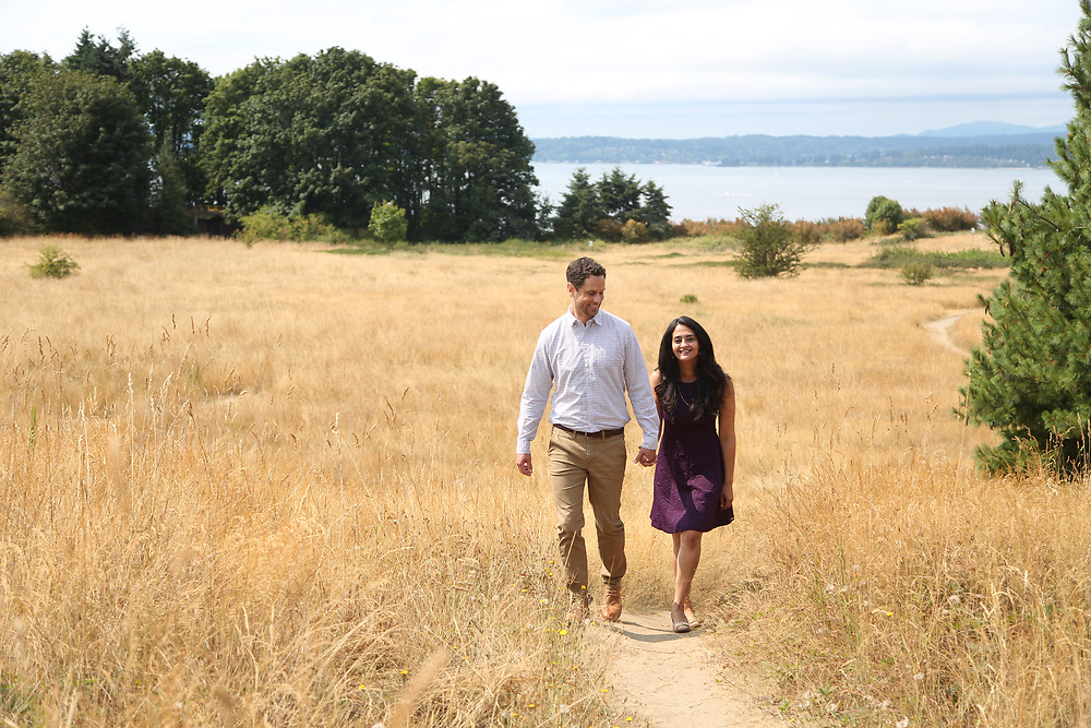 Seattle, WA - August 12, 2017<br /> <br /> Abe and Hanady engagement photos. Discovery Park, Seattle.