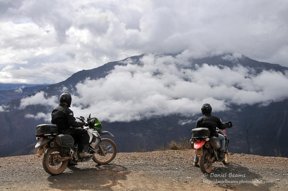 Motorcycle adventure rest stop near Tacacoma, Bolivia