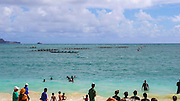 Outrigger canoe, race, Kailua Beach, Oahu, Hawaii