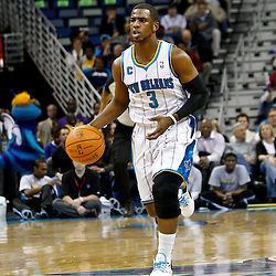 February 7, 2011; New Orleans, LA, USA; New Orleans Hornets point guard Chris Paul (3) against the Minnesota Timberwolves during the first quarter at the New Orleans Arena.   Mandatory Credit: Derick E. Hingle
