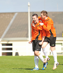 Straide &amp; Foxford United's Paul Moran celebrates the 2nd goal with Chris Downey during the Connaught Sheild final at milebush on sunday last.<br /> Pic Conor McKeown
