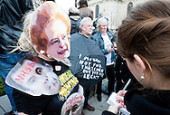 Margaret Thatcher funeral, London, UK (17 April 2013). Protesters outside St Paul's Cathedral.