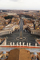 The view from the copula of the Basilica of St. Peter, of  Piazza San Pietro, Vatican City, Rome Italy. The copula of the Basilica of St. Peter is the dominant feature of the Roman skyline.