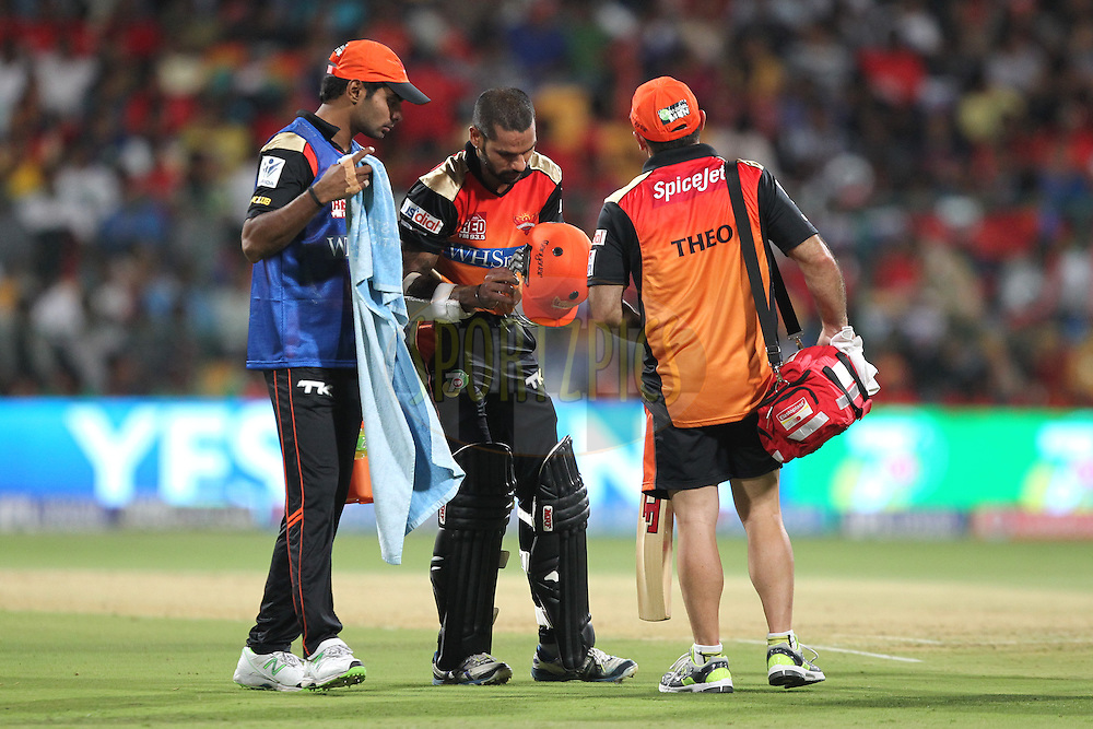 Shikhar Dhawan captain of the Sunrisers Hyderabad got hurt during match 24 of the Pepsi Indian Premier League Season 2014 between the Royal Challengers Bangalore and the Sunrisers Hyderabad held at the M. Chinnaswamy Stadium, Bangalore, India on the 4th May  2014Photo by Prashant Bhoot / IPL / SPORTZPICSImage use subject to terms and conditions which can be found here:  http://sportzpics.photoshelter.com/gallery/Pepsi-IPL-Image-terms-and-conditions/G00004VW1IVJ.gB0/C0000TScjhBM6ikg