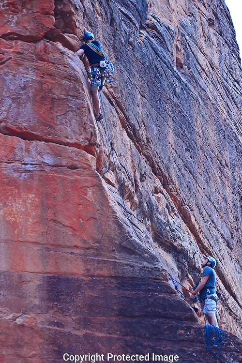 Rock climbers climbing The Pulpit in Zion National Park Utah