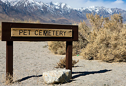 Sign for the Pet Cemetery, Manzanar National Historic Site, Independence, California