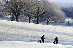 © Licensed to London News Pictures. 17/01/2013.The UK has woken up this morning to freezing temperatures as the cold weather continues today (17.01.13). Early Morning golfers head out for a round in the cold weather at Cray Valley Golf Club in Orpington,Kent..Photo credit : Grant Falvey/LNP