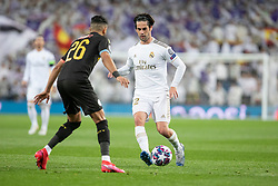 Real Madrid's Isco Alarcon and Manchester City's Riyad Mahrez during the UEFA Champions League round of 16 first leg match Real Madrid v Manchester City at Santiago Bernabeu stadium on February 26, 2020 in Madrid, Sdpain. Real was defeated 1-2. Photo by David Jar/AlterPhotos/ABACAPRESS.COM