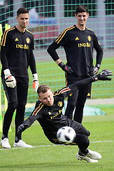 June 14, 2018 - Moscou, RUSSIE - MOSCOW, RUSSIA - JUNE 14 :  Simon Mignolet goalkeeper of Belgium, Thibaut Courtois goalkeeper of Belgium and Koen Casteels  goalkeeper of Belgium pictured during a training session of the National Soccer Team of Belgium as part of the preparation prior to the FIFA 2018 World Cup Russia group G phase match between Belgium and Panama at the Guchkova Sports center in Dedovsk on June 14, 2018 in Moscow, Russia, 14/06/2018 (Credit Image: © Panoramic via ZUMA Press)