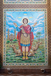 view of wall mosaic at St Mina Coptic Orthodox Church at Jebel Ali in Dubai United Arab Emirates