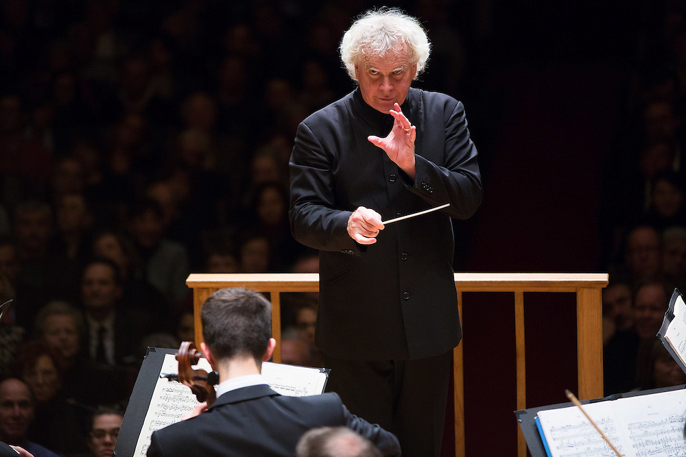 Simon Rattle and Berlin Philharmoniker in concert at Symphony Hall, Boston.