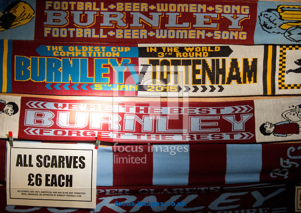 Scarves for sale before the FA Cup match at Turf Moor, Burnley<br /> Picture by Russell Hart/Focus Images Ltd 07791 688 420<br /> 05/01/2015