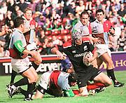 Twickenham, GREAT BRITAIN. Quins' David Barnes, Will Carling, Garrick Morgan, Pat Sandersen, during the Harlequins v Saracens on 9/10/1999 at the Stoop. England.  [Mandatory Credit; peter Spurrier; Intersport Images]