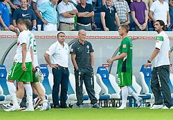 21.08.2010, Rhein-Neckar-Arena, Sinsheim, GER, 1. FBL, TSG Hoffenheim vs Werder Bremen, im Bild boese Blicke nach dem Spiel von Thomas Schaaf ( Werder  - Trainer  COACH) und Klaus Allofs  (Geschäftsführer Profifußball - GER), v.li Sandro Wagner ( Werder #19 ) Tim Borowski ( Werder #06) Tim Borowski ( Werder #06)9 Hugo Almeida ( Werder #23 ).EXPA Pictures © 2010, PhotoCredit: EXPA/ nph/  Roth+++++ ATTENTION - OUT OF GER +++++ / SPORTIDA PHOTO AGENCY