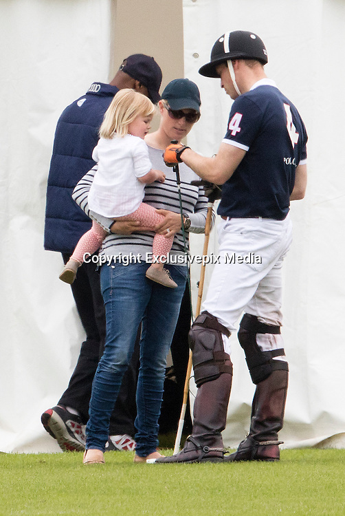 TETBURY - UK - 18th June 2016: Prince William, HRH The Duke of Cambridge plays a charity polo match at the Beaufort Festival of Polo near Tetbury in Gloucestershire.<br /> <br /> Prince William was watched by his brother Prince Harry and Zara Phillips with her daughter Mia.<br /> ©Exclusivepix Media