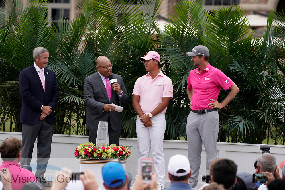Jay Monahan PGATour commissioner<br /> At the trophy presentation with winner Webb Simpson<br /> On the final day<br /> THE PLAYERS Championship 2018<br /> <br /> Golf Pictures by Mark Newcombe/visionsingolf.com