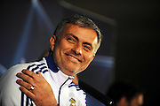 Jose Mourinho speaks with the press ahead of the Champions League match between Lyon and Real Madrid at Stade Gerland on February 21st, 2011 in Lyon, France.