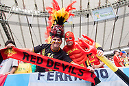 Belgian fans dressed in red looks on during the 2014 FIFA World Cup match at Maracana Stadium, Rio de Janeiro, Brazil. <br /> Picture by Andrew Tobin/Focus Images Ltd +44 7710 761829<br /> 22/06/2014