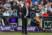 Ole Gunnar Solskjaer, Manager of Manchester United gesticulating during the Premier League match between West Ham United and Manchester United at the London Stadium, London, England on 22 September 2019.