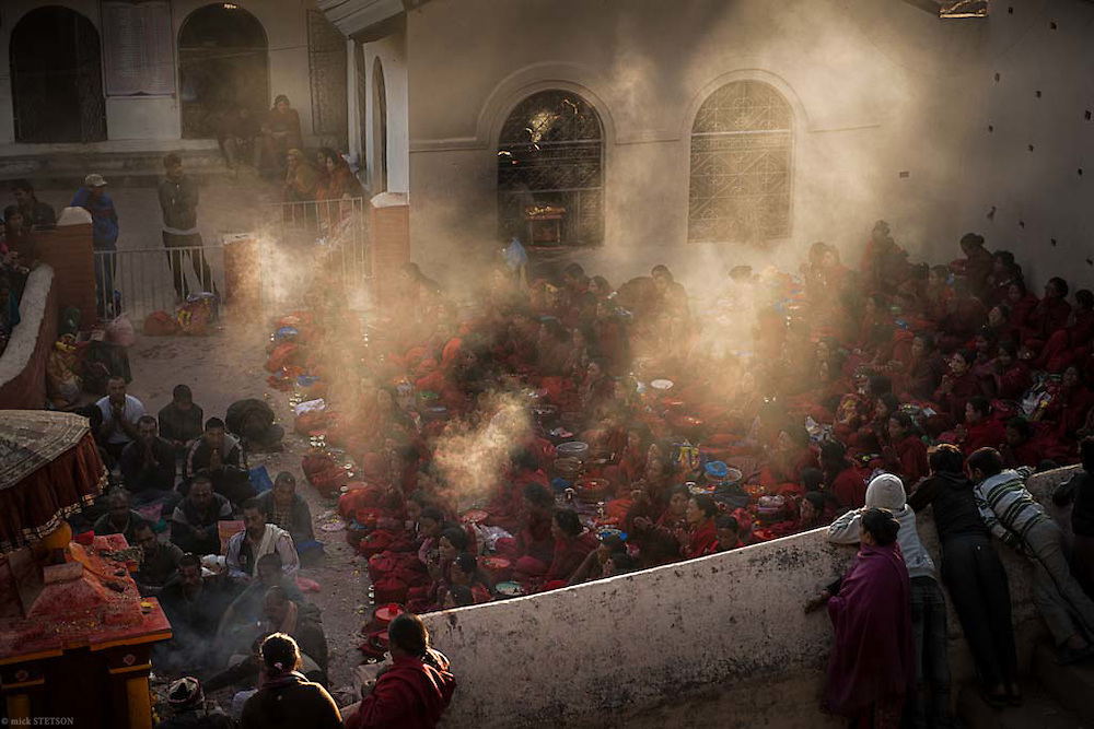 — Women devotees, gather in the temple's inner sanctum to pray and recite the last scriptures prescribed for this day. The Swasthani Puja is one of the important Hindu festivals of Nepal and one of the last examples of a matriarchal tradition in our modern world. More than 200 women make the annual pilgrimage to the Kathmandu Valley to fast and pray during the month-long festival.