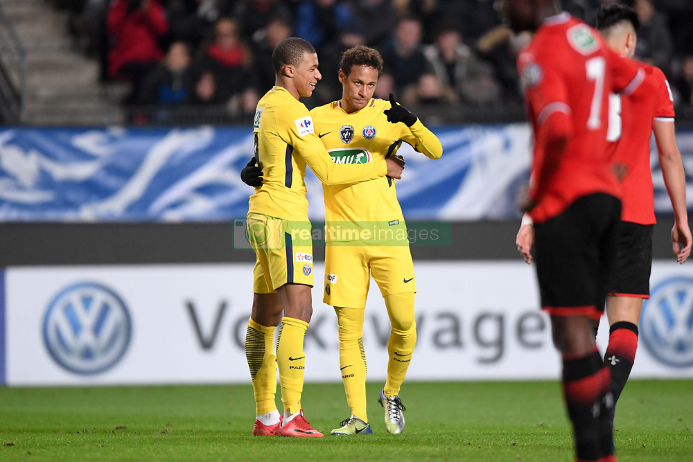 January 7, 2018 - Rennes, France - 29 KYLIAN MBAPPE (psg) - 10 NEYMAR JR (psg) - JOIE (Credit Image: © Panoramic via ZUMA Press)