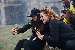 Liane Lippert (GER) and Floortje Mackaij (NED) pose for a selfie at Ladies Tour of Norway Team Presentation 2018, in Halden, Norway on August 15, 2018. Photo by Sean Robinson/velofocus.com