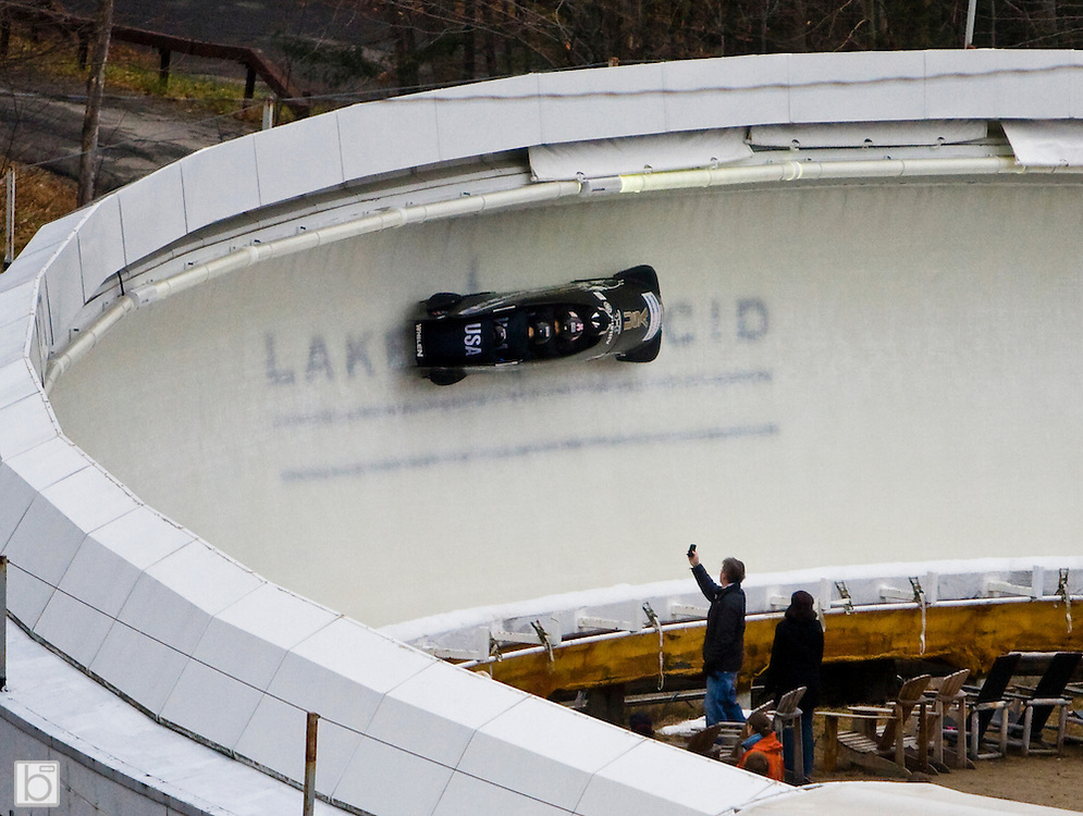 Nov 22, 2009: Night Train, the USA 1 Bobsled driven by Steven Holcomb, with sidepushers Justin Olsen and Steve Mesler, and Brakeman Curtis Tomasevicz take their 1st run at the Intersport FIBT World Cup 4-Man Bobsled at the Olympic Sports Complex, Lake Placid, N.Y. The team won the gold medal at the event. (Photo ©Todd Bissonette)