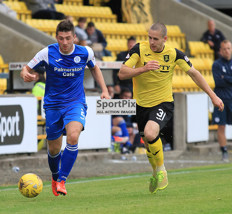 Livingston V Queen of the South Scottish Championship 15 August 2015; Queen of the South's Lewis Kidd and Livingston's Jackson Longridge  during the Livingston V Queen of the South Scottish Championship match played at The Energy Assets Arena, Livingston.